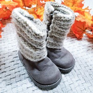 2/$15 Target gray faux suede and knit boots